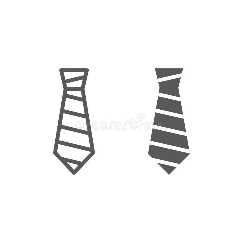 Γραμμή δεσμών και glyph εικονίδιο, ιματισμός και επίσημος, σημάδι γραβατών, διανυσματική γραφική παράσταση, ένα γραμμικό σχέδιο σ διανυσματική απεικόνιση