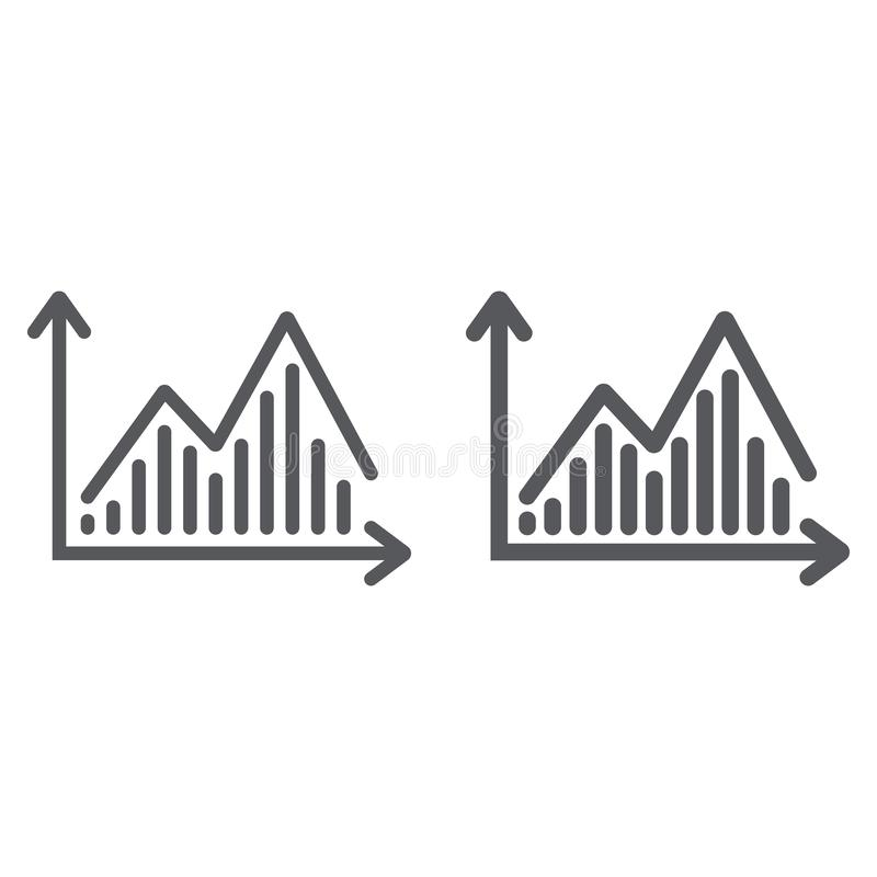 Γραμμή διαγραμμάτων αποθεμάτων και glyph εικονίδιο, γραφική παράσταση και χρηματοδότηση, σημάδι διαγραμμάτων στατιστικής, διανυσμ διανυσματική απεικόνιση
