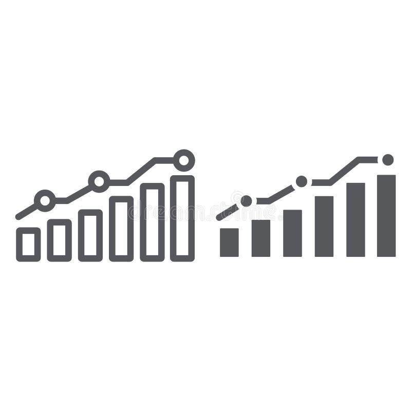 Γραμμή διαγραμμάτων και glyph εικονίδιο, έκθεση και γραφική παράσταση, σημάδι διαγραμμάτων αύξησης, διανυσματική γραφική παράστασ διανυσματική απεικόνιση