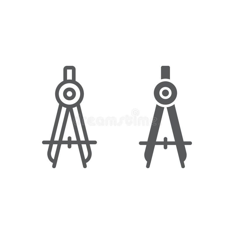 Γραμμή διαιρετών και glyph εικονίδιο, σχολείο και εκπαίδευση, διανυσματική γραφική παράσταση σημαδιών πυξίδων, ένα γραμμικό σχέδι απεικόνιση αποθεμάτων