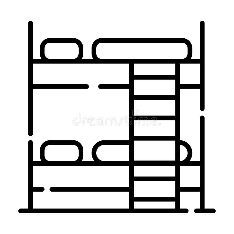Γραμμή διπλών κρεβατιών δωματίων ξενώνων ελεύθερη απεικόνιση δικαιώματος