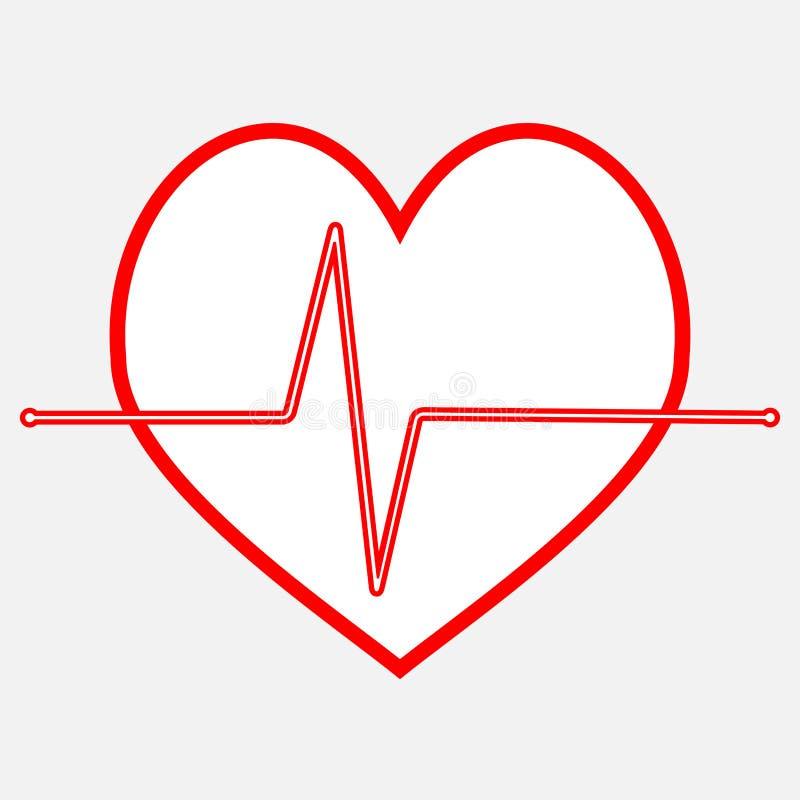 Γραμμή εικονιδίων κτύπου της καρδιάς σφυγμού ελεύθερη απεικόνιση δικαιώματος