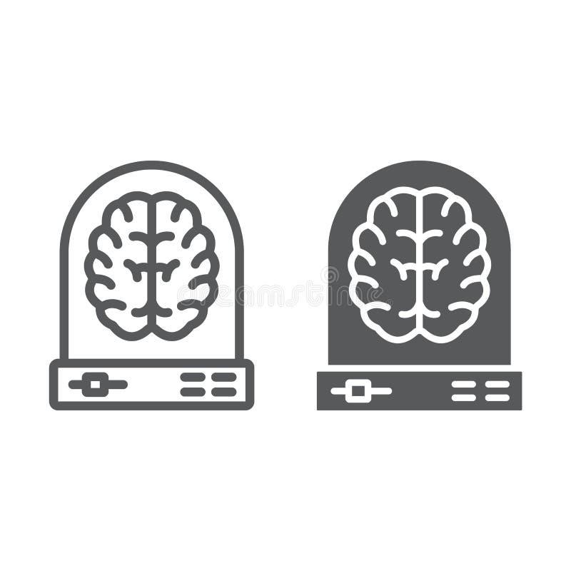 Γραμμή εκμάθησης μηχανών και glyph εικονίδιο, στοιχεία απεικόνιση αποθεμάτων