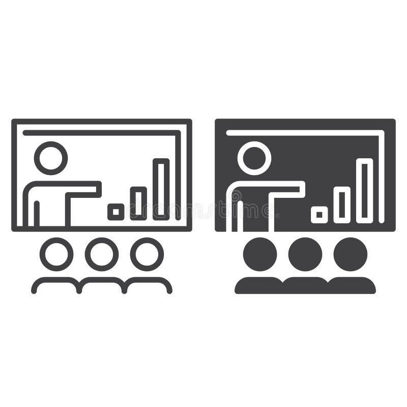 Γραμμή επιχειρησιακής παρουσίασης και στερεό εικονίδιο, περίληψη και γεμισμένο διανυσματικό σημάδι, γραμμικό και πλήρες εικονόγρα διανυσματική απεικόνιση