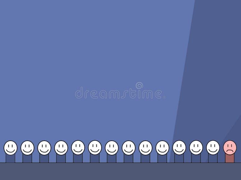 Γραμμή ευτυχών ανθρώπων με το ένα λυπημένο στοκ εικόνα με δικαίωμα ελεύθερης χρήσης