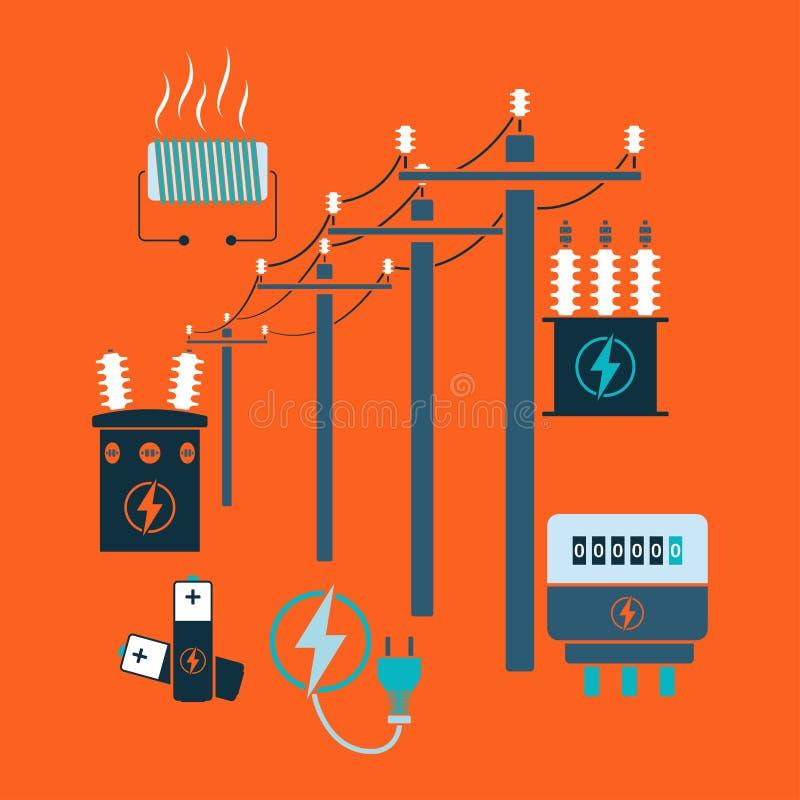 Γραμμή ηλεκτρικής ενέργειας απεικόνιση αποθεμάτων