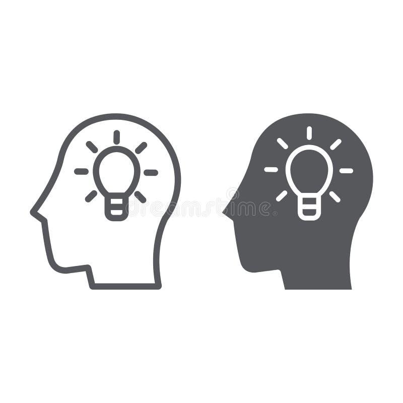 Γραμμή ιδέας και glyph εικονίδιο, δημιουργικός και καινοτομία, κεφάλι με το σημάδι λαμπτήρων, διανυσματική γραφική παράσταση, ένα διανυσματική απεικόνιση