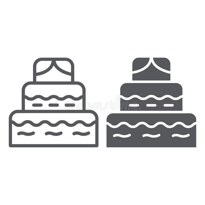 Γραμμή κέικ και glyph εικονίδιο, τρόφιμα και γλυκά, σημάδι επιδορπίων, διανυσματική γραφική παράσταση, ένα γραμμικό σχέδιο σε ένα απεικόνιση αποθεμάτων