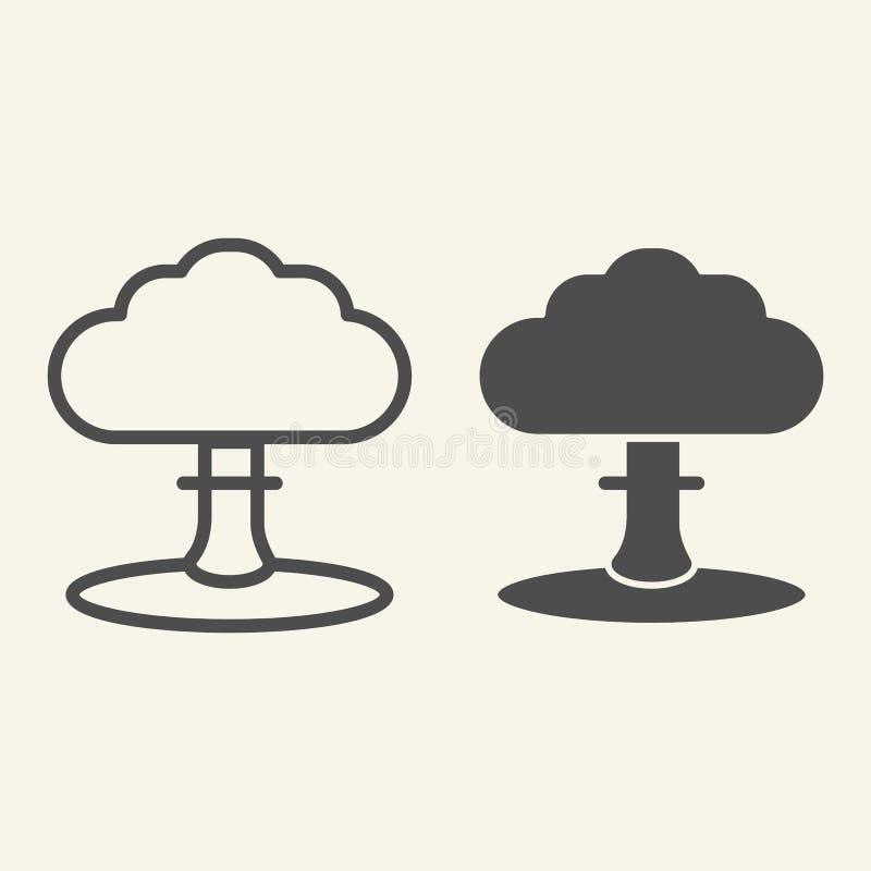 Γραμμή και glyph εικονίδιο έκρηξης Βραχιόνων απεικόνιση που απομονώνεται διανυσματική στο λευκό Πυρηνικό σχέδιο ύφους περιλήψεων  διανυσματική απεικόνιση