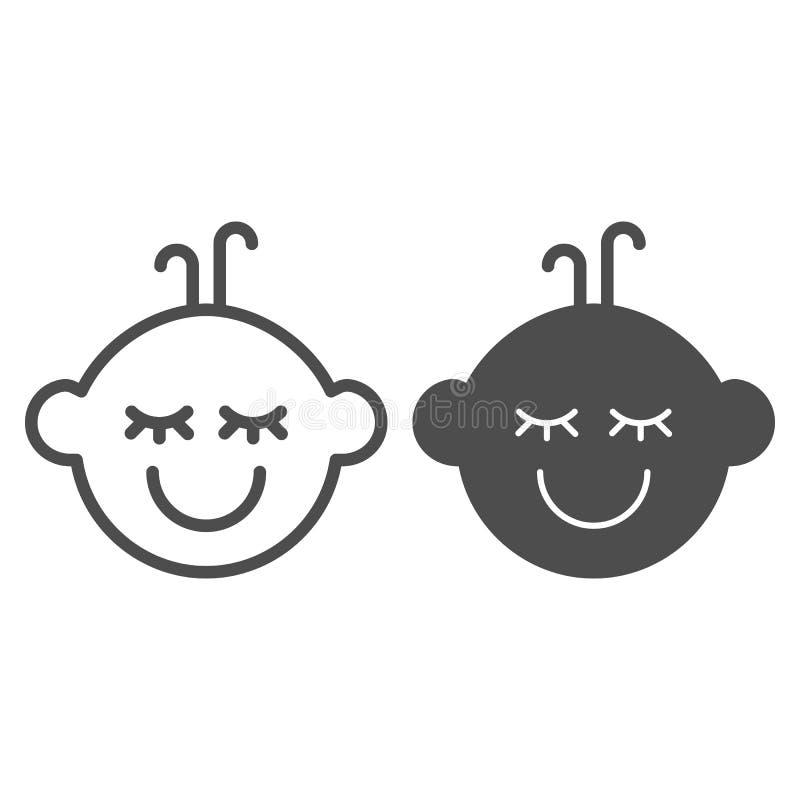 Γραμμή και glyph εικονίδιο αγοράκι Παιδιών προσώπου απεικόνιση που απομονώνεται διανυσματική στο λευκό Σχέδιο ύφους περιλήψεων χα ελεύθερη απεικόνιση δικαιώματος