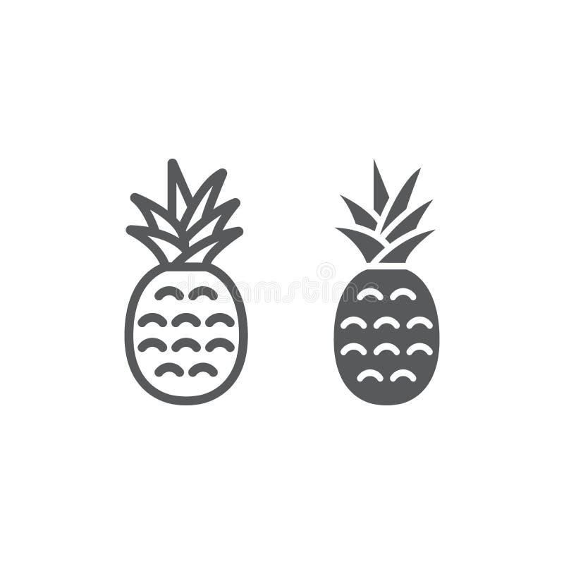 Γραμμή και glyph εικονίδιο ανανά, φρούτα και ανανάς ελεύθερη απεικόνιση δικαιώματος