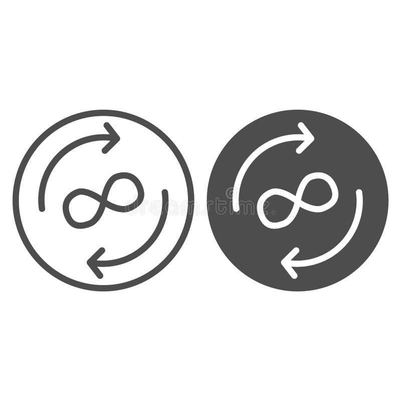 Γραμμή και glyph εικονίδιο ανταλλαγής απείρου Βέλη και διανυσματική απεικόνιση συμβόλων απείρου που απομονώνεται στο λευκό Βέλη κ ελεύθερη απεικόνιση δικαιώματος