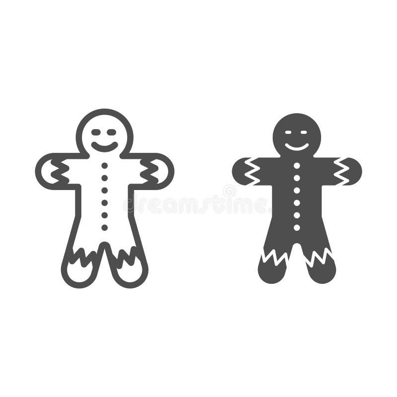 Γραμμή και glyph εικονίδιο ατόμων μελοψωμάτων Χριστουγέννων μπισκότων απεικόνιση που απομονώνεται διανυσματική στο λευκό Γλυκό σχ διανυσματική απεικόνιση