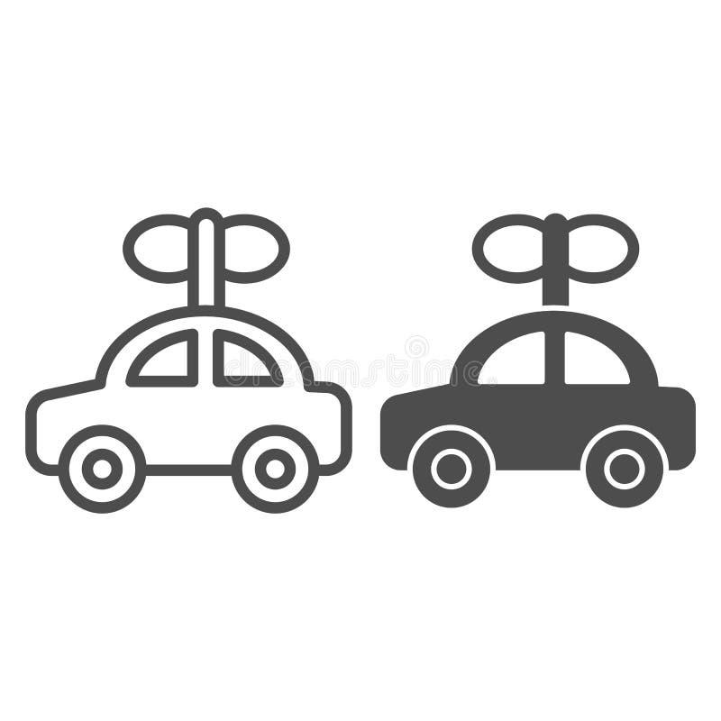 Γραμμή και glyph εικονίδιο αυτοκινήτων παιχνιδιών Αυτόματη διανυσματική απεικόνιση παιδιών που απομονώνεται στο λευκό Αυτοκινητικ διανυσματική απεικόνιση