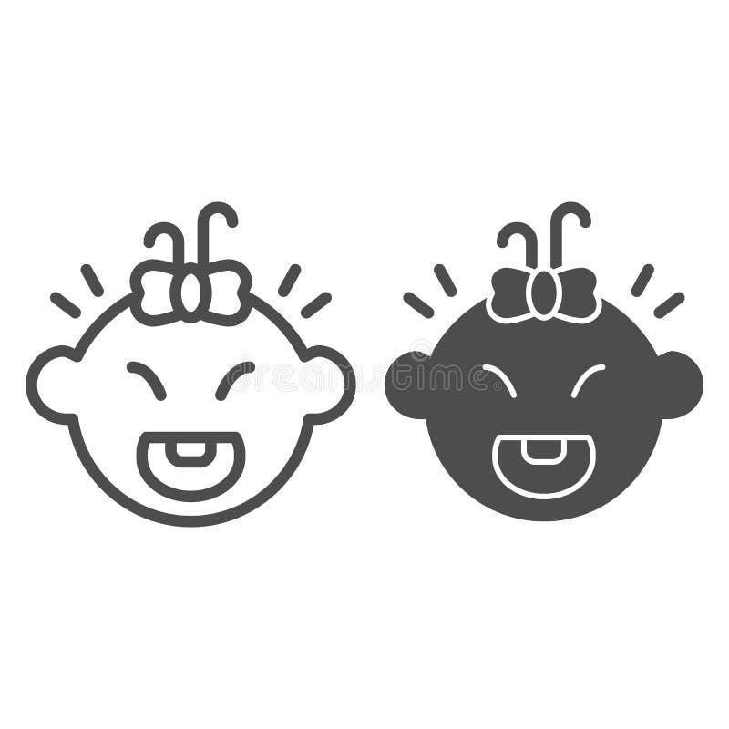 Γραμμή και glyph εικονίδιο γέλιου κοριτσάκι Διανυσματική απεικόνιση κοριτσιών χαμόγελου που απομονώνεται στο λευκό Ευτυχές ύφος π ελεύθερη απεικόνιση δικαιώματος