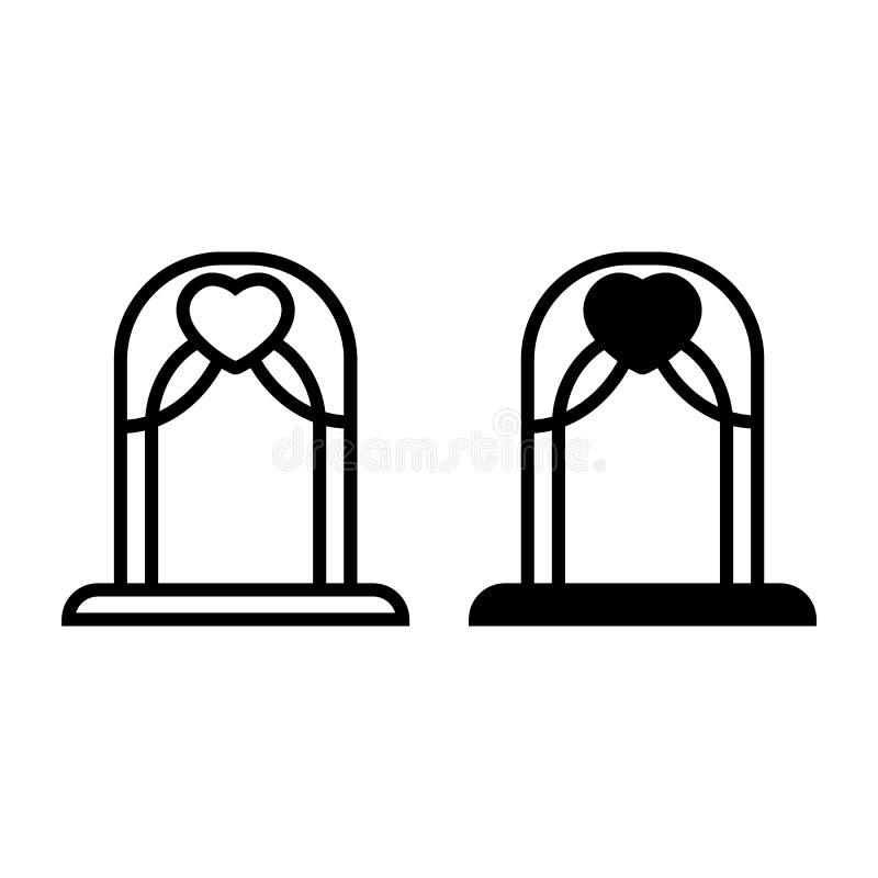 Γραμμή και glyph εικονίδιο γαμήλιων αψίδων Βωμών απεικόνιση που απομονώνεται διανυσματική στο λευκό Σχέδιο ύφους περιλήψεων αψίδω διανυσματική απεικόνιση