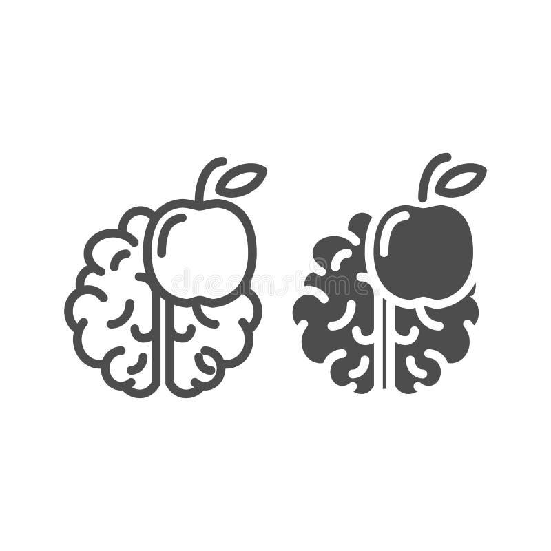 Γραμμή και glyph εικονίδιο γνώσης Διανυσματική απεικόνιση εγκεφάλου και μήλων που απομονώνεται στο λευκό Σκεφτείτε το σχέδιο ύφου απεικόνιση αποθεμάτων