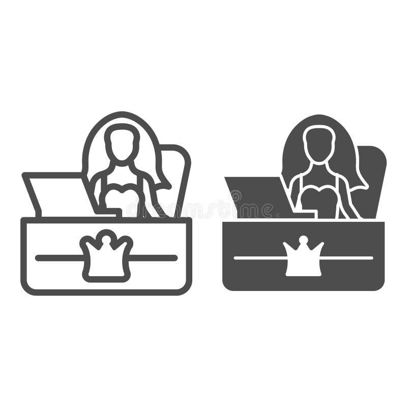 Γραμμή και glyph εικονίδιο γραφείων υποδοχής Γραμματέων γραφείων απεικόνιση που απομονώνεται διανυσματική στο λευκό Ύφος περιλήψε ελεύθερη απεικόνιση δικαιώματος
