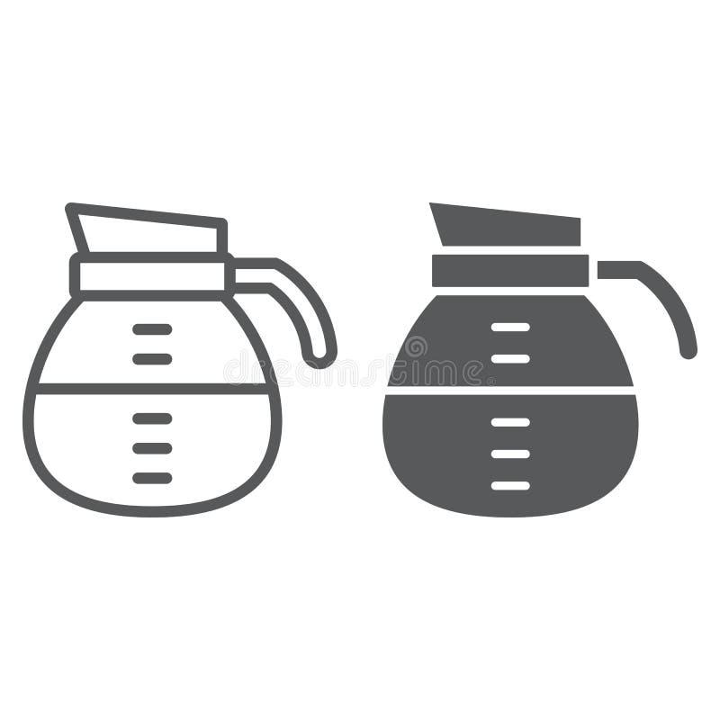 Γραμμή και glyph εικονίδιο δοχείων καφέ, καφές και καφές ελεύθερη απεικόνιση δικαιώματος