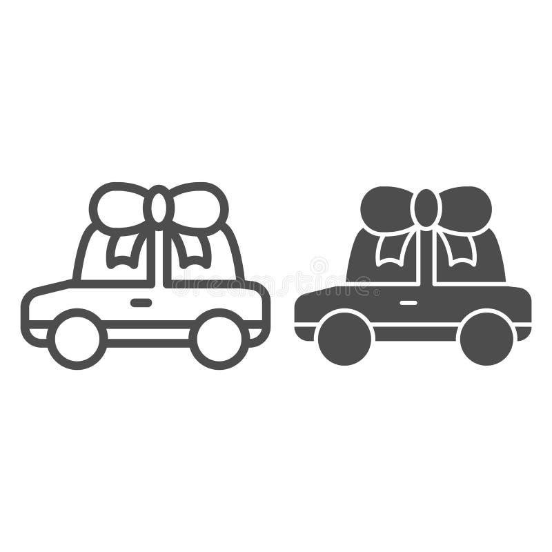 Γραμμή και glyph εικονίδιο δώρων αυτοκινήτων Αυτοκινητική διανυσματική απεικόνιση βραβείων που απομονώνεται στο λευκό Αυτοκίνητο  ελεύθερη απεικόνιση δικαιώματος