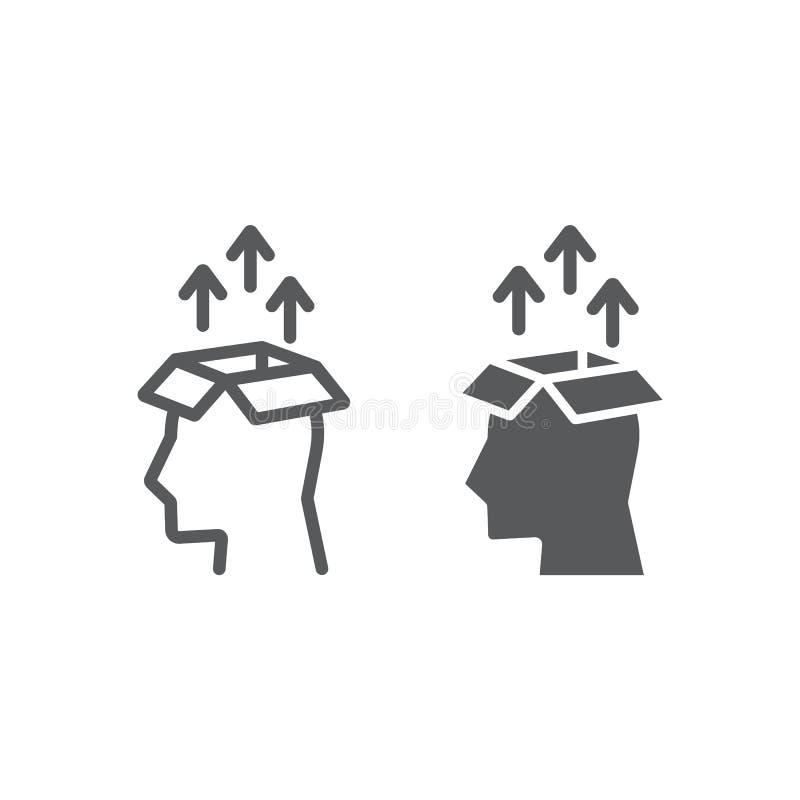 Γραμμή και glyph εικονίδιο εξαγωγής γνώσης ελεύθερη απεικόνιση δικαιώματος