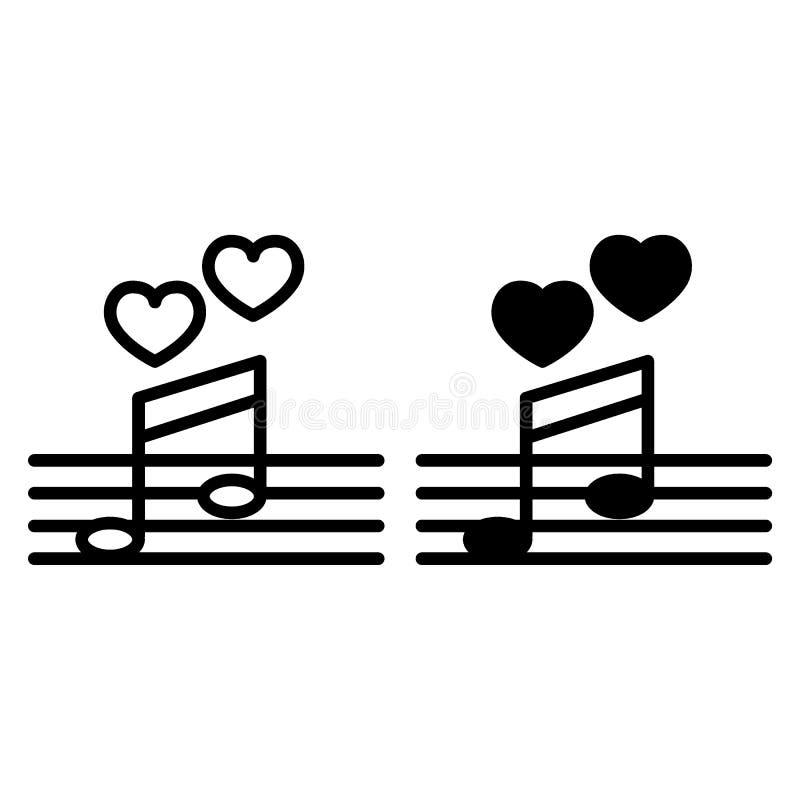 Γραμμή και glyph εικονίδιο ερωτικού τραγουδιού Σημειώσεις μουσικής τη διανυσματική απεικόνιση καρδιών που απομονώνεται με στο λευ απεικόνιση αποθεμάτων