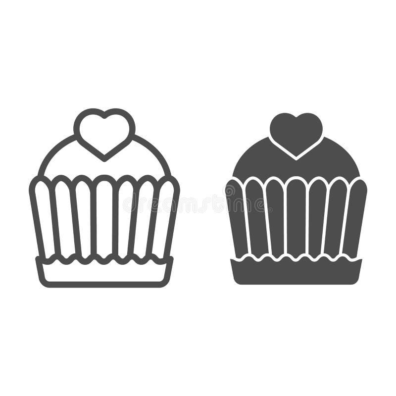 Γραμμή και glyph εικονίδιο κέικ Cupcake απεικόνιση που απομονώνεται διανυσματική στο λευκό Εύγευστο σχέδιο ύφους περιλήψεων, που  διανυσματική απεικόνιση