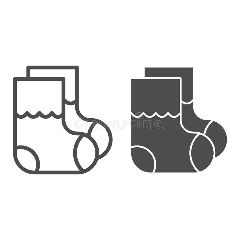 Γραμμή και glyph εικονίδιο καλτσών παιδιών Το μωρό κτυπά βίαια τη διανυσματική απεικόνιση που απομονώνεται στο λευκό Σχέδιο ύφους απεικόνιση αποθεμάτων