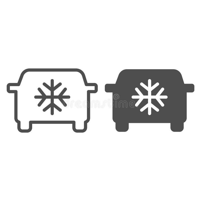Γραμμή και glyph εικονίδιο κλιματισμού αυτοκινήτων Αυτοκινήτων εδαφοβελτιωτικών απεικόνιση που απομονώνεται διανυσματική στο λευκ απεικόνιση αποθεμάτων