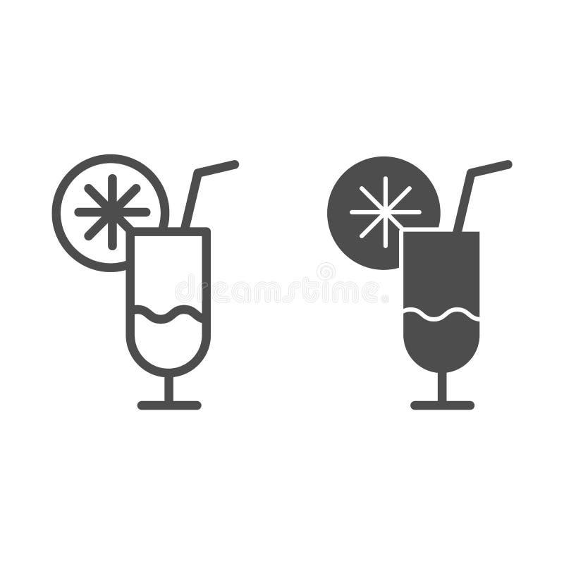 Γραμμή και glyph εικονίδιο κοκτέιλ Φρούτων κοκτέιλ απεικόνιση που απομονώνεται διανυσματική στο λευκό Σχέδιο ύφους περιλήψεων οιν ελεύθερη απεικόνιση δικαιώματος