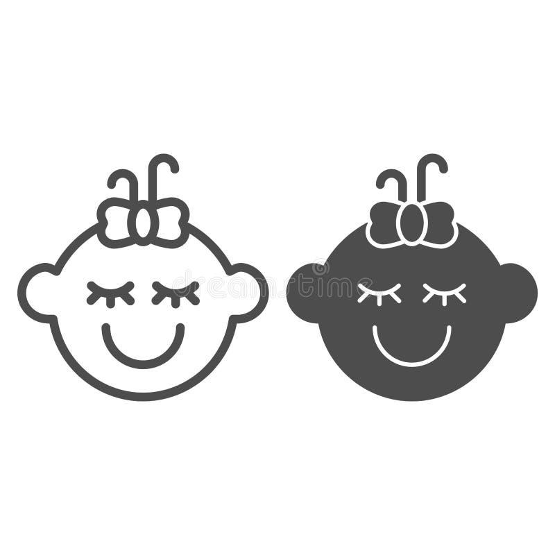 Γραμμή και glyph εικονίδιο κοριτσάκι Παιδιών προσώπου απεικόνιση που απομονώνεται διανυσματική στο λευκό Σχέδιο ύφους περιλήψεων  διανυσματική απεικόνιση