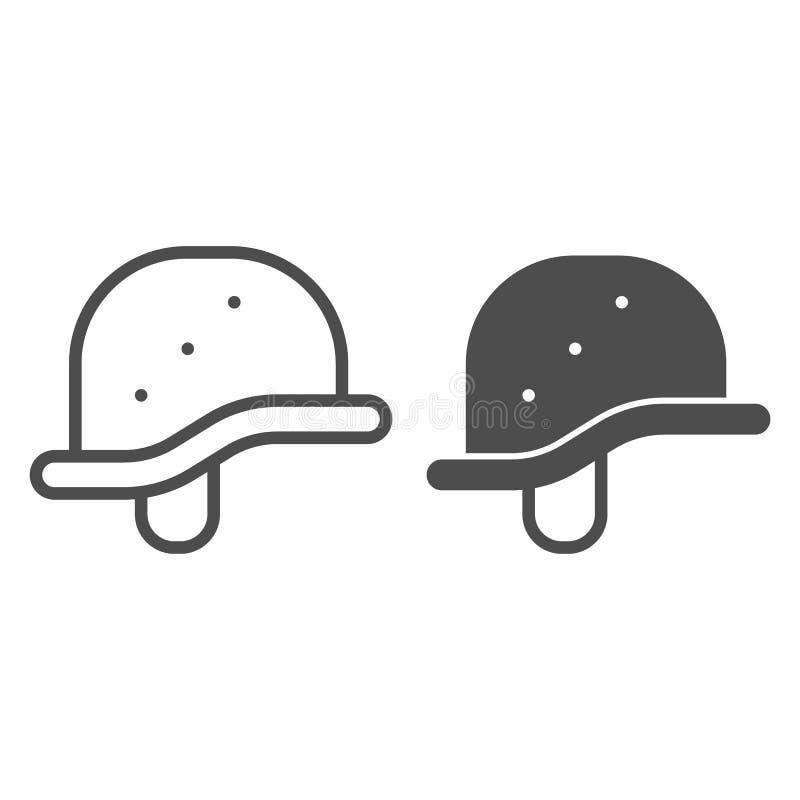 Γραμμή και glyph εικονίδιο κρανών Στρατιωτική διανυσματική απεικόνιση καπέλων που απομονώνεται στο λευκό Σχέδιο ύφους περιλήψεων  διανυσματική απεικόνιση