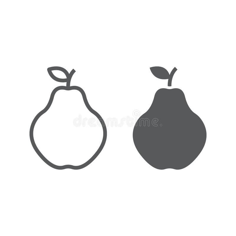 Γραμμή και glyph εικονίδιο κυδωνιών, φρούτα και βιταμίνη απεικόνιση αποθεμάτων
