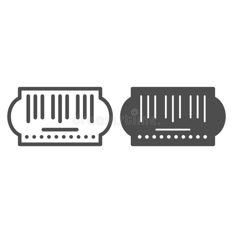 Γραμμή και glyph εικονίδιο κώδικα φραγμών Αυτοκόλλητων ετικεττών απεικόνιση που απομονώνεται διανυσματική στο λευκό Σχέδιο ύφους  διανυσματική απεικόνιση