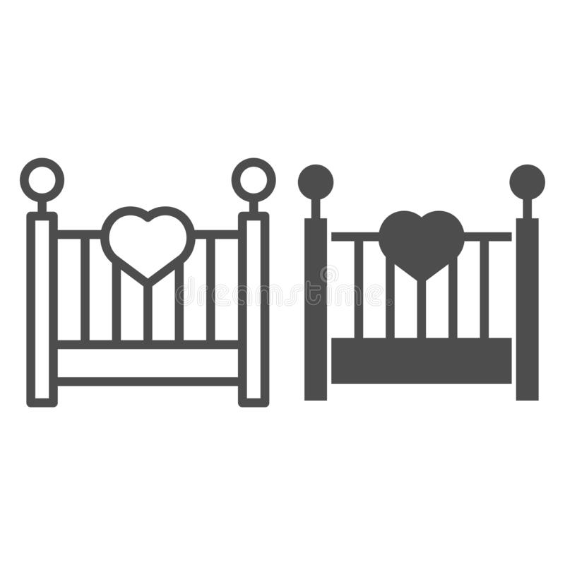 Γραμμή και glyph εικονίδιο λίκνων μωρών Παιδιών κρεβατιών απεικόνιση που απομονώνεται διανυσματική στο λευκό Το σχέδιο ύφους περι διανυσματική απεικόνιση