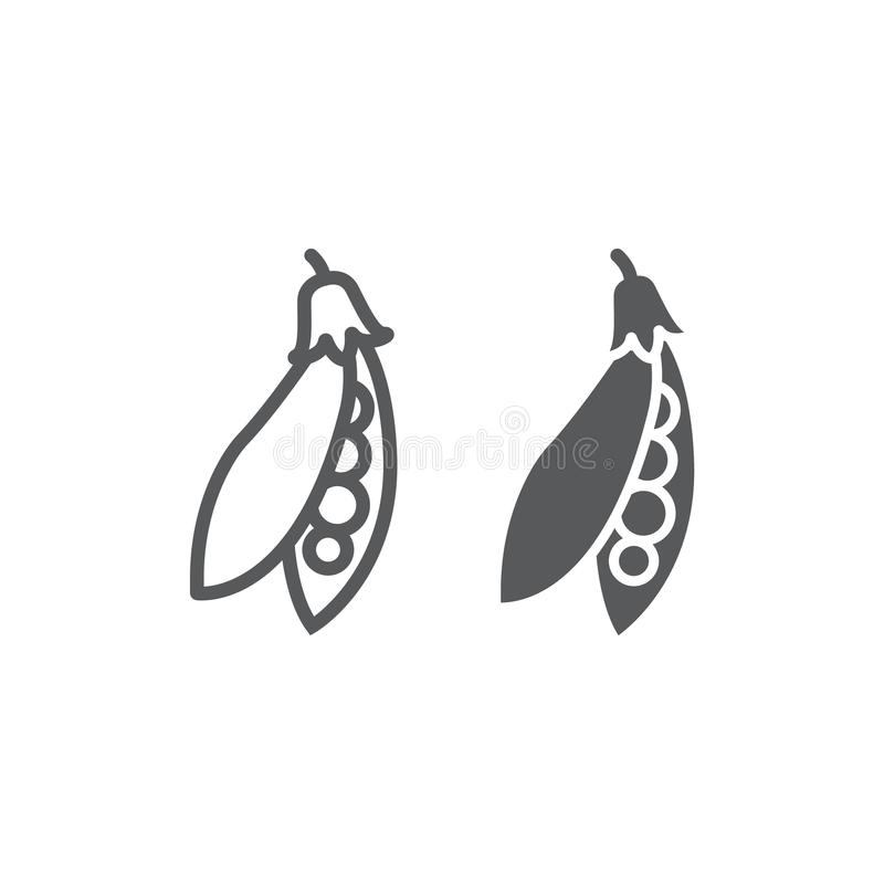 Γραμμή και glyph εικονίδιο λοβών μπιζελιών, φυτικές ελεύθερη απεικόνιση δικαιώματος