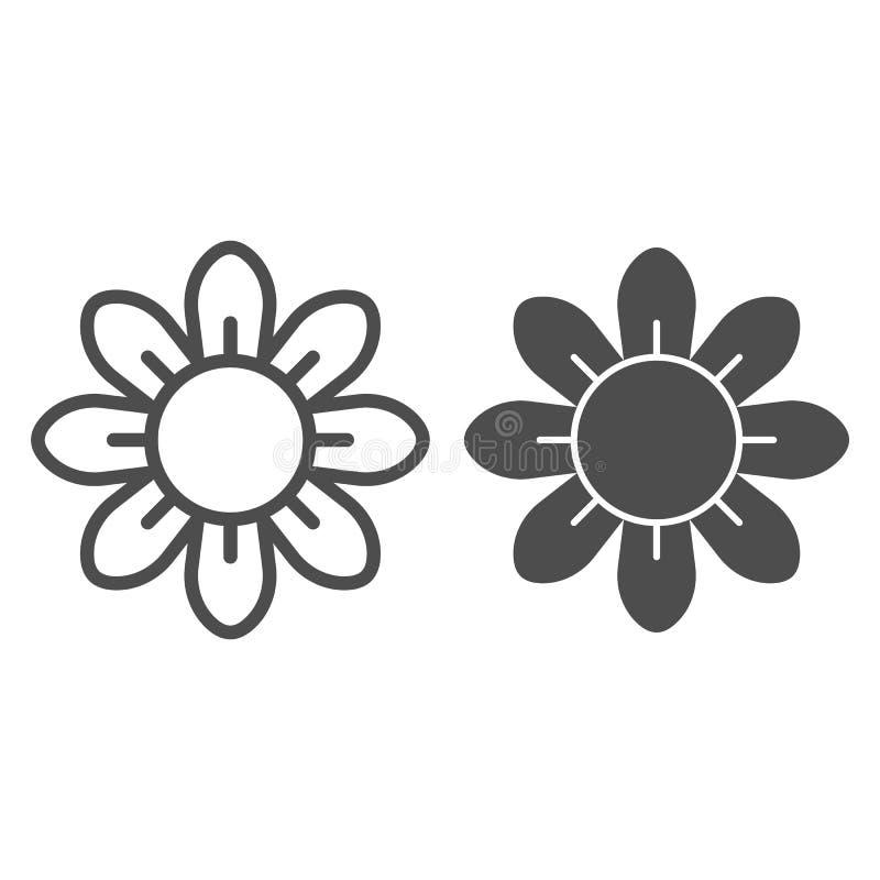 Γραμμή και glyph εικονίδιο λουλουδιών Floral διανυσματική απεικόνιση που απομονώνεται στο λευκό Σχέδιο ύφους περιλήψεων ανθών, πο ελεύθερη απεικόνιση δικαιώματος