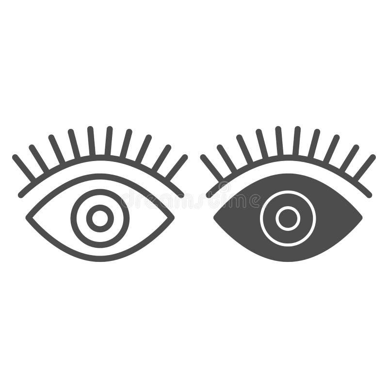 Γραμμή και glyph εικονίδιο ματιών Ομορφιάς απεικόνιση που απομονώνεται διανυσματική στο λευκό Σχέδιο ύφους περιλήψεων Eyelashes,  απεικόνιση αποθεμάτων