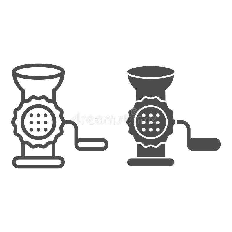 Γραμμή και glyph εικονίδιο μηχανή κοπής κιμά Χεριών μύλων απεικόνιση που απομονώνεται διανυσματική στο λευκό Σχέδιο ύφους περιλήψ διανυσματική απεικόνιση