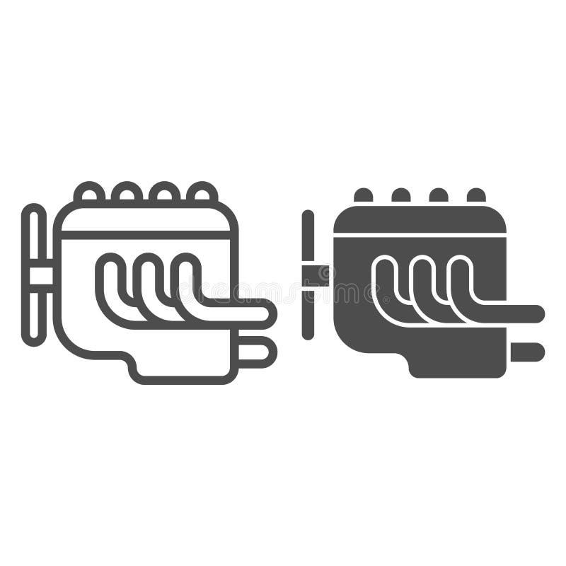 Γραμμή και glyph εικονίδιο μηχανών Αυτοκινήτων μηχανών απεικόνιση που απομονώνεται διανυσματική στο λευκό Σχέδιο ύφους περιλήψεων διανυσματική απεικόνιση