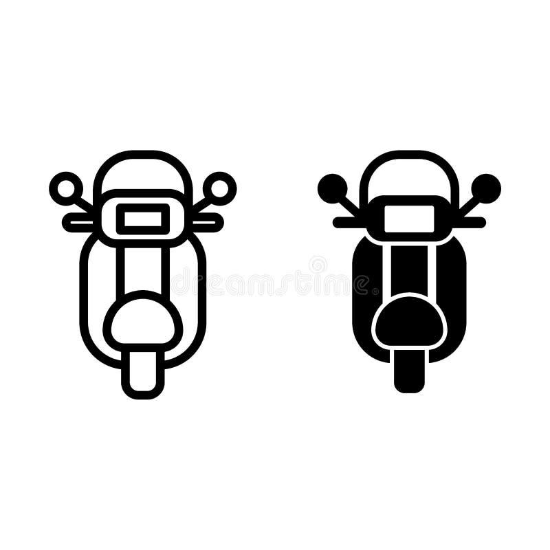 Γραμμή και glyph εικονίδιο μοτοσικλετών Μοτοσικλετών απεικόνιση που απομονώνεται διανυσματική στο λευκό Το σχέδιο ύφους περιλήψεω ελεύθερη απεικόνιση δικαιώματος