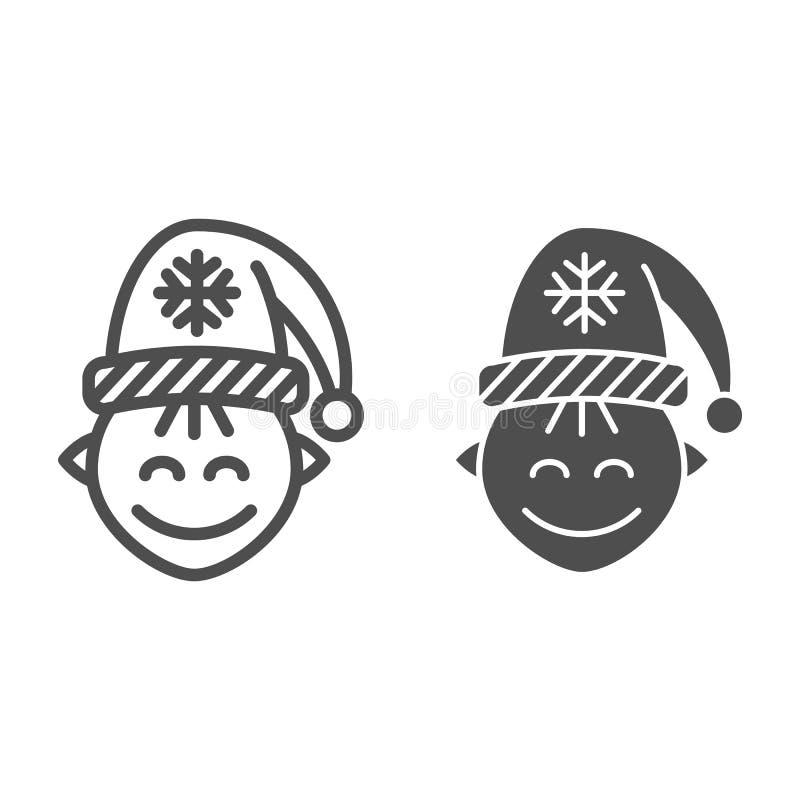 Γραμμή και glyph εικονίδιο νεραιδών Santas Χριστουγέννων νεραιδών απεικόνιση που απομονώνεται διανυσματική στο λευκό Ύφος περιλήψ ελεύθερη απεικόνιση δικαιώματος