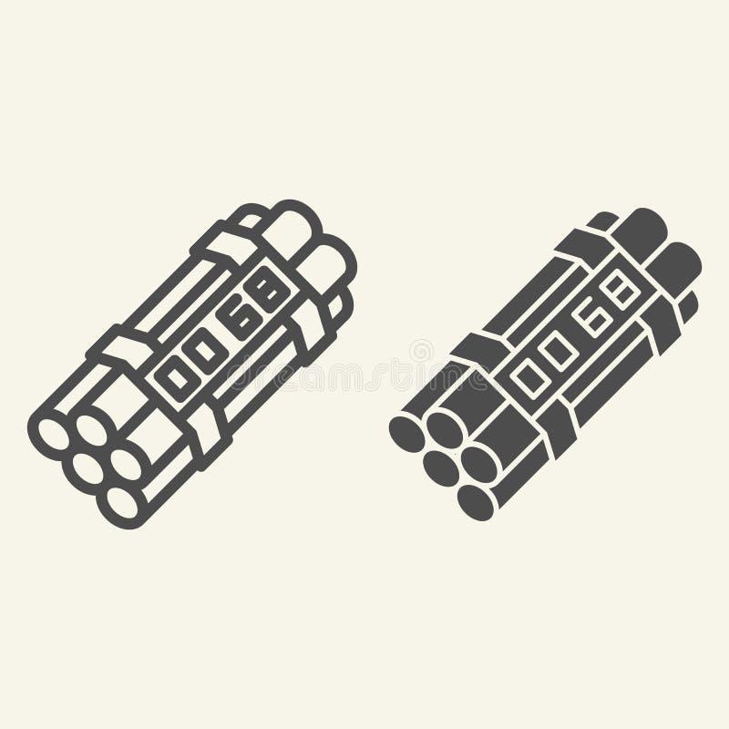 Γραμμή και glyph εικονίδιο ορολογιακών βομβών Δυναμίτη απεικόνιση που απομονώνεται διανυσματική στο λευκό Το σχέδιο ύφους περιλήψ διανυσματική απεικόνιση
