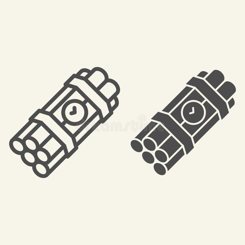 Γραμμή και glyph εικονίδιο ορολογιακών βομβών Δυναμίτη απεικόνιση που απομονώνεται διανυσματική στο λευκό Το σχέδιο ύφους περιλήψ απεικόνιση αποθεμάτων