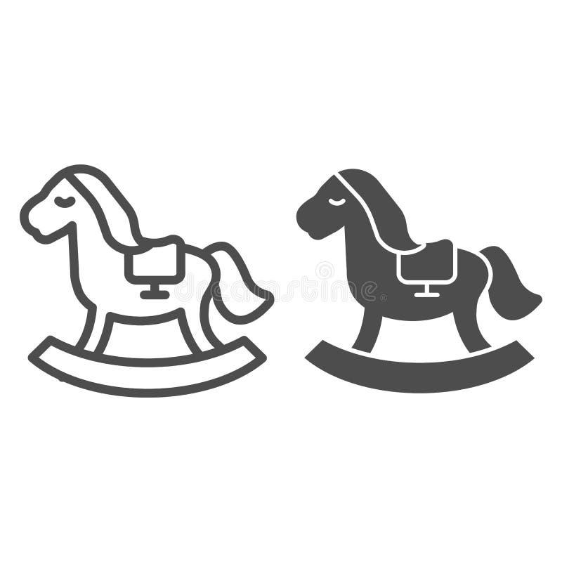 Γραμμή και glyph εικονίδιο παιχνιδιών αλόγων Παιδιών παιχνιδιών απεικόνιση που απομονώνεται διανυσματική στο λευκό Σχέδιο ύφους π ελεύθερη απεικόνιση δικαιώματος