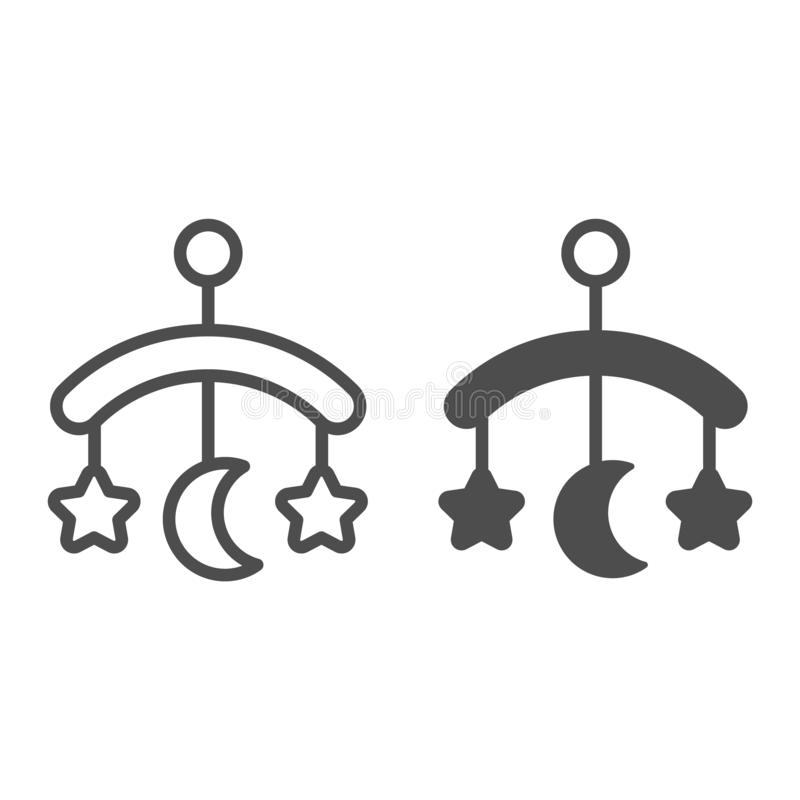 Γραμμή και glyph εικονίδιο παιχνιδιών παχνιών μωρών Τη διανυσματική απεικόνιση παιχνιδιών που απομονώνεται κρεμώντας στο λευκό Σχ ελεύθερη απεικόνιση δικαιώματος