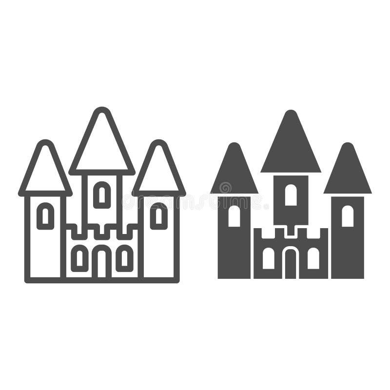 Γραμμή και glyph εικονίδιο παιχνιδιών του Castle Μωρών παιχνιδιών απεικόνιση που απομονώνεται διανυσματική στο λευκό Σχέδιο ύφους ελεύθερη απεικόνιση δικαιώματος