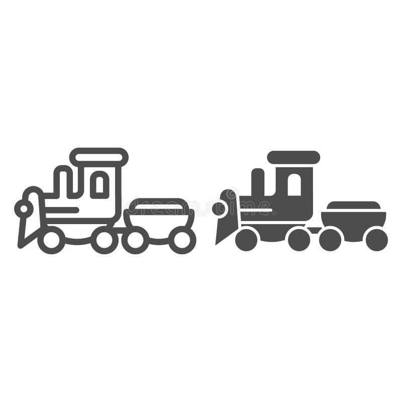 Γραμμή και glyph εικονίδιο παιχνιδιών τραίνων Παιδιών παιχνιδιών απεικόνιση που απομονώνεται διανυσματική στο λευκό Κινητήριο σχέ διανυσματική απεικόνιση