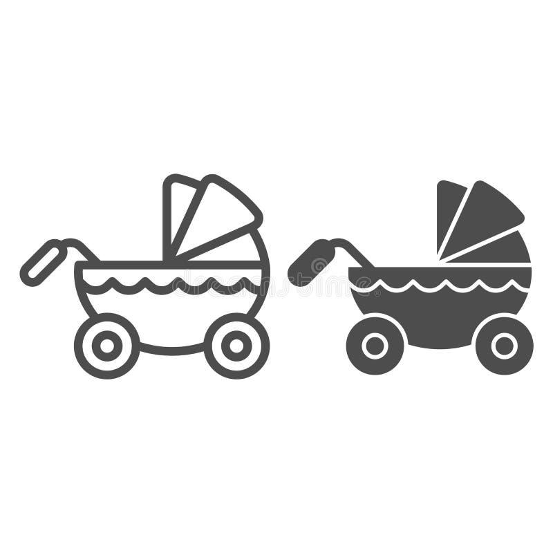Γραμμή και glyph εικονίδιο περιπατητών Παιδιών μεταφορών απεικόνιση που απομονώνεται διανυσματική στο λευκό Το σχέδιο ύφους περιλ απεικόνιση αποθεμάτων