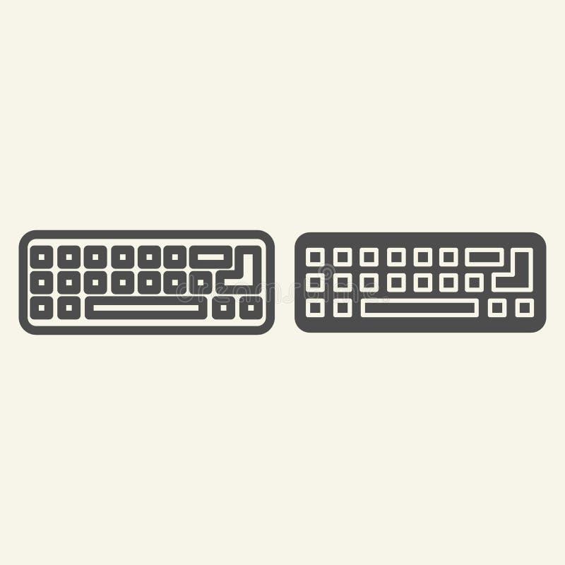 Γραμμή και glyph εικονίδιο πληκτρολογίων Υπολογιστών αριθμητικών πληκτρολογίων απεικόνιση που απομονώνεται διανυσματική στο λευκό διανυσματική απεικόνιση